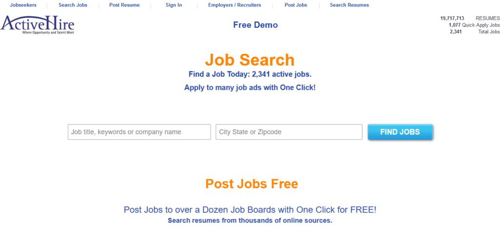 activehire free job posting sites